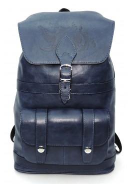 Рюкзак кожаный  «Джинсовый» тёмно-синий