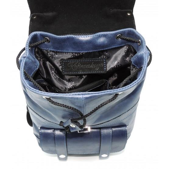 Рюкзак кожаный  «Джинсовый» (тёмно-синий)