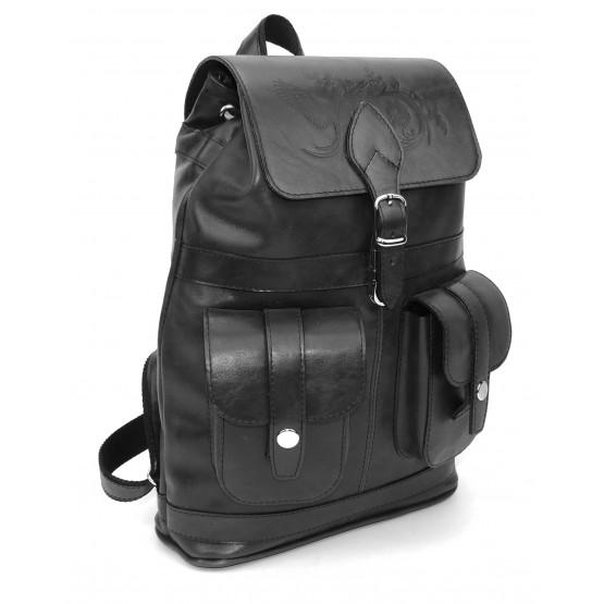 Кожаный рюкзак «Черный лебедь» (черный)