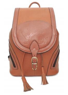 Рюкзак кожаный  «Валлетта» оранжевый