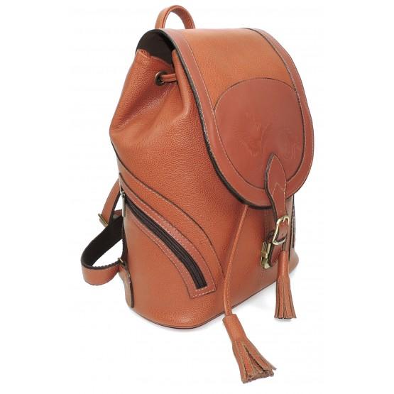 Рюкзак кожаный  «Валлетта» (оранжевый)
