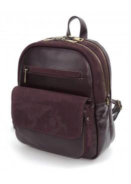 Сумка рюкзак женская нубук кожа  «Николь» бордовая