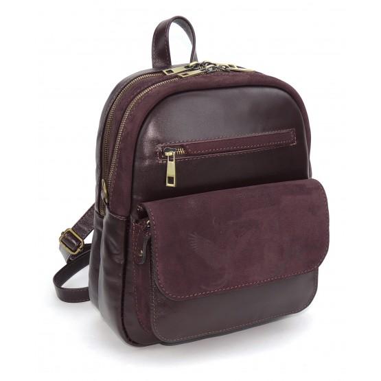 Сумка рюкзак женская нубук кожа  «Николь» (бордовая)