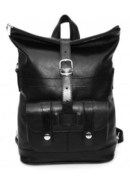Сумка-рюкзак кожаная «Конти» чёрная