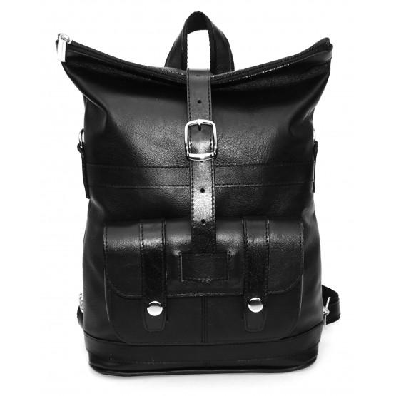 Сумка-рюкзак кожаная «Конти» (чёрная)
