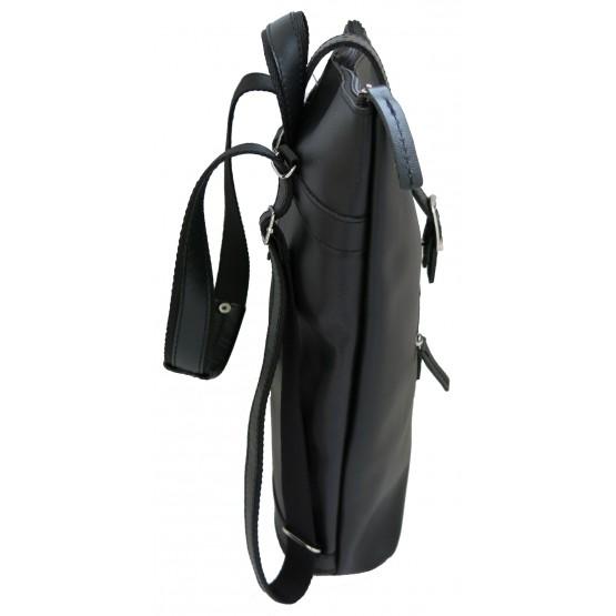 Кожаная сумка-рюкзак «Саламандра» (чёрная)