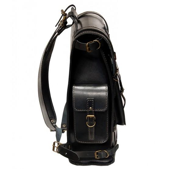 Leo-5 Ранец кожаный  «Связист» (чёрный)