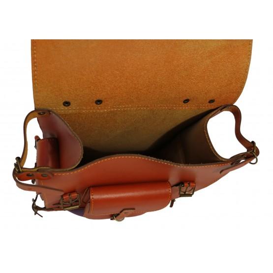 Leo-5 Ранец кожаный  «Связист» (коричневый)