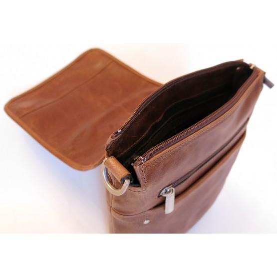 Сумка-планшет кожаная Ren-114 (коричневый)